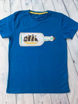 Mini Boden blue tshirt with applique ship in a bottle age 9-10